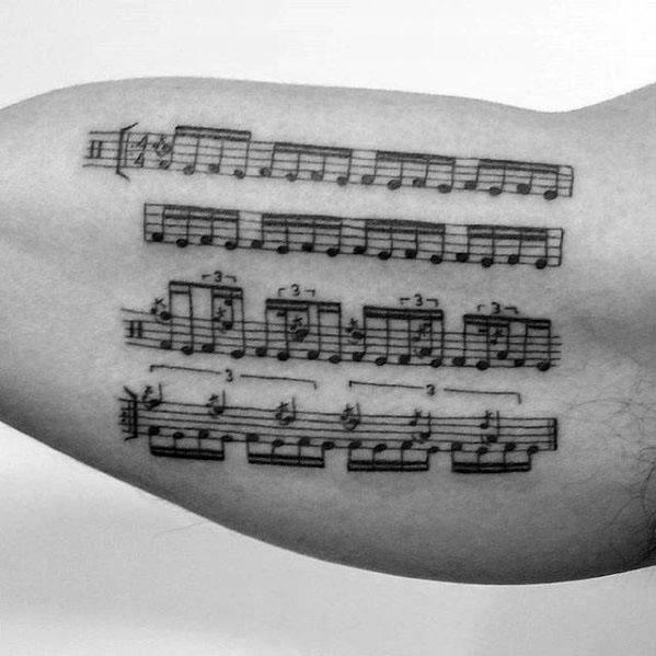 Amazing Mens Music Staff Tattoo Designs Inner Arm Bicep