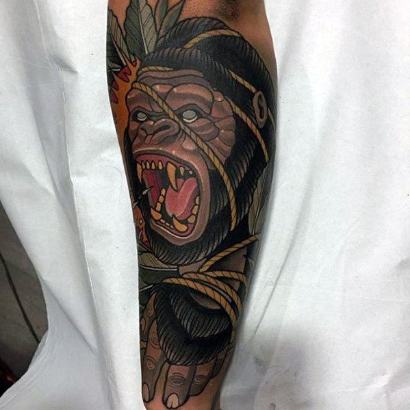 Amazing Mens Neo Traditional Gorilla Tattoo Designs