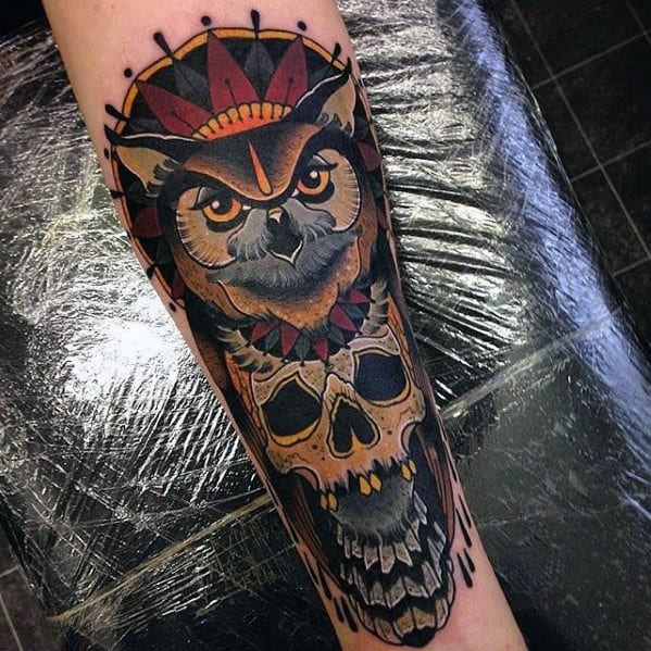 Amazing Mens Neo Traditional Owl Tattoo Designs