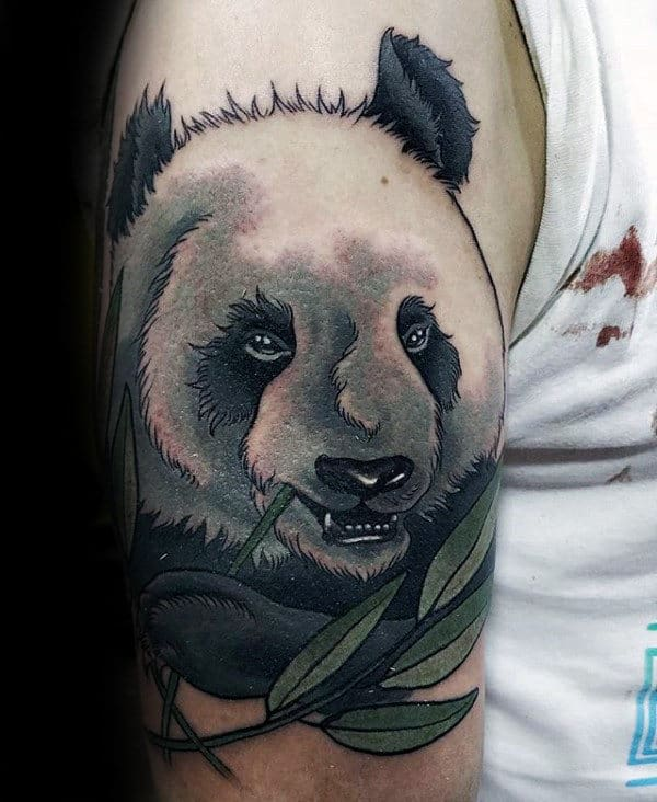Amazing Mens Neo Traditional Panda Bear With Green Branch Tattoo