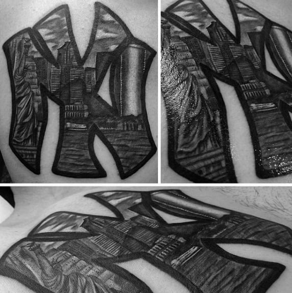 Amazing Mens New York Skyline Tattoo Designs On Back