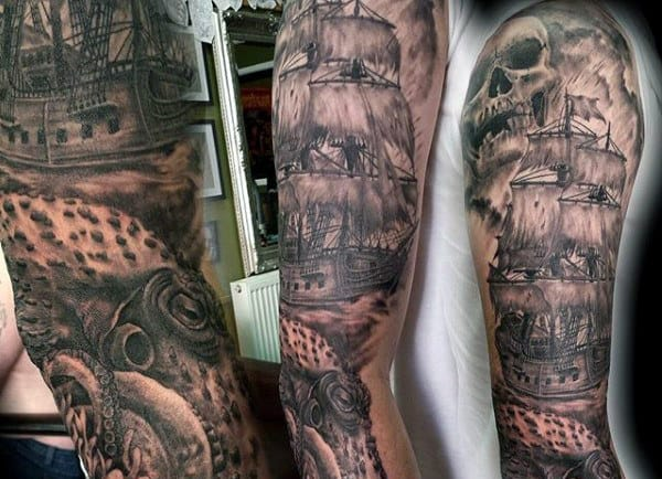 Amazing Men's Octopus Tattoos Sleeve With Ship