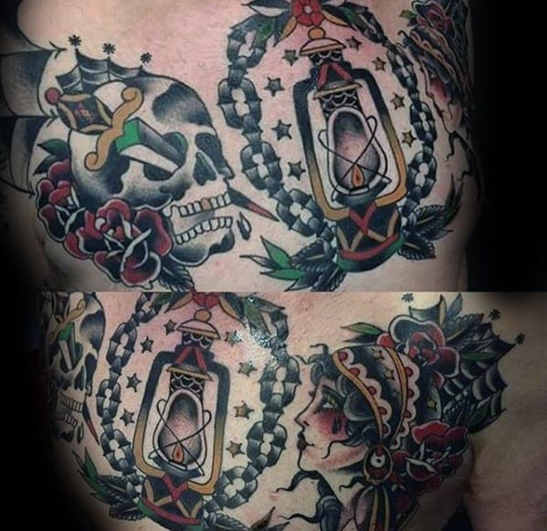 Amazing Mens Old School Traditional Chest Lantern Tattoo Designs