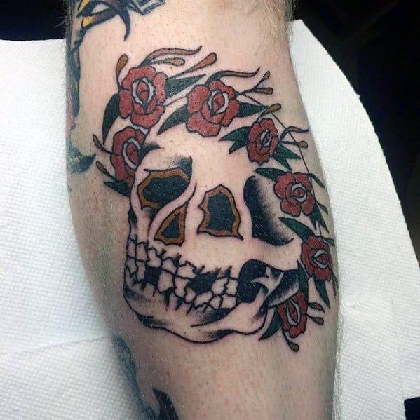 Amazing Mens Old School Traditional Skull Grateful Dead Tattoo Designs