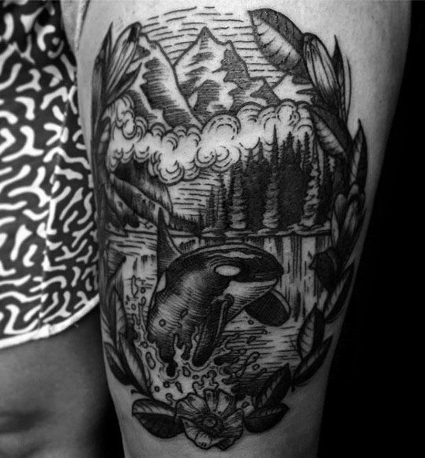 Amazing Mens Orca Tattoo Designs On Thigh
