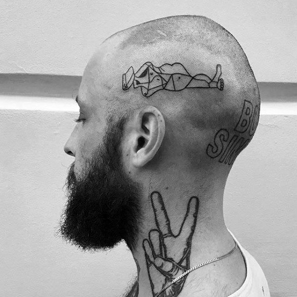 Amazing Mens Pablo Picasso Tattoo Designs On Head