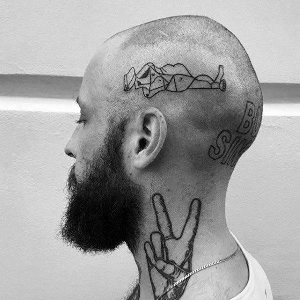 Amazing Mens Pablo Picasso Tattoo Designs On Head