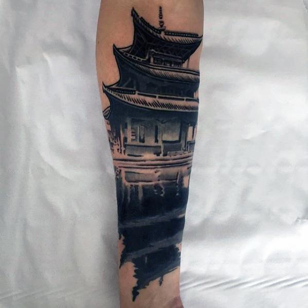 Amazing Mens Pagoda Tattoo Designs