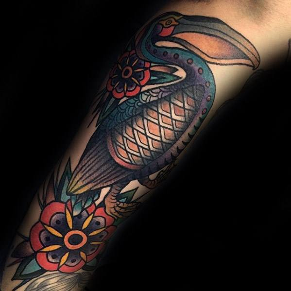 Amazing Mens Pelican Forearm Traditional Tattoo Designs