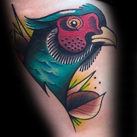 Amazing Mens Pheasant Bird Arm Tattoo Designs
