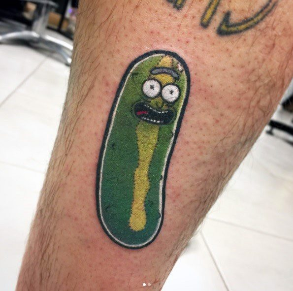 Amazing Mens Pickle Rick Tattoo Designs On Leg