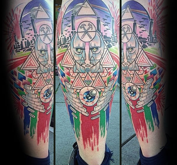 Amazing Mens Pink Floyd Themed Leg Sleeve Tattoo Designs