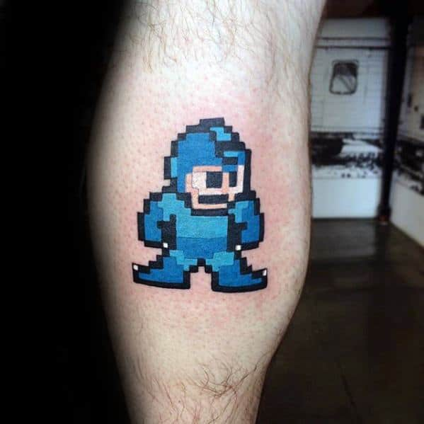 Amazing Mens Pixel Megaman Leg Calf Tattoo Designs