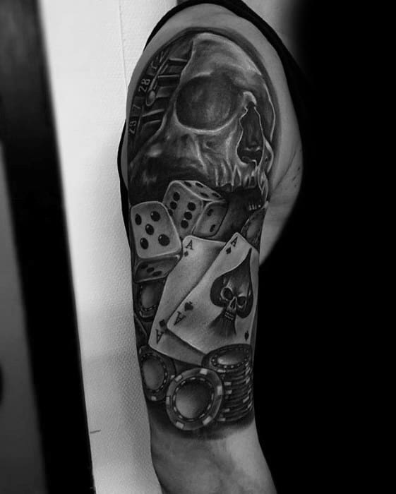 Amazing Mens Poker Chip Skull Half Sleeve Tattoo Designs