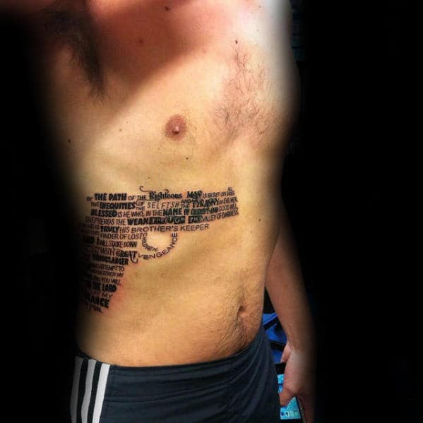 Amazing Mens Pulp Fiction Rib Cage Side Pistol Quote Tattoo