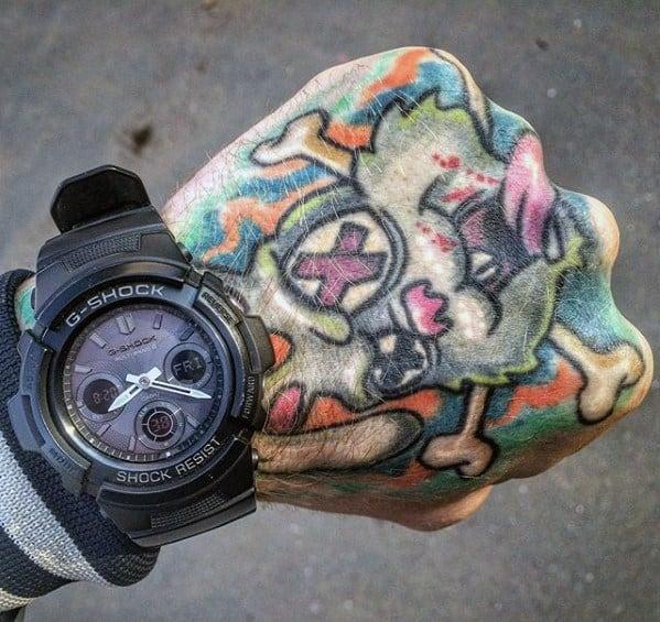 Amazing Mens Rabbit Green Day Hand Tattoo Designs