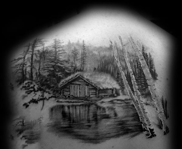 Amazing Mens Realistic Cabin In The Forest Back Tattoo