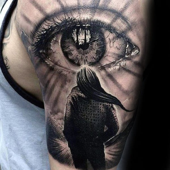 Amazing Mens Realistic Eye Half Sleeve Tattoos