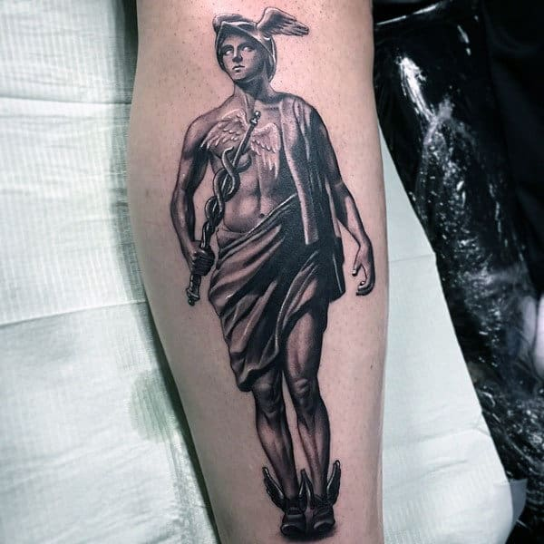 Amazing Mens Realistic Hermes Tattoo On Leg