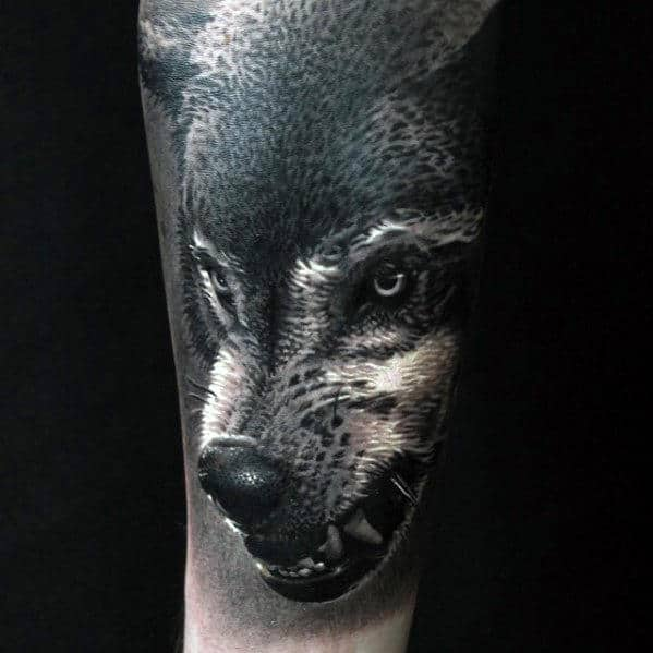e570841676e88 Amazing Mens Realistic Shaded Black And Grey Wolf Tattoo On Arm
