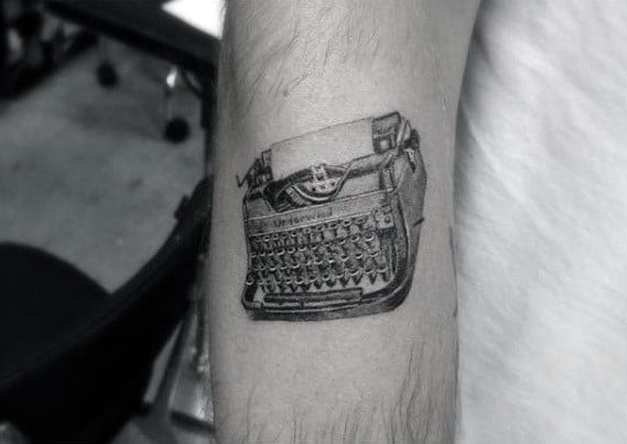 Amazing Mens Realistic Small Typewriter Arm Tattoo Ideas
