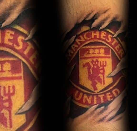 Amazing Mens Ripped Skin Logo Manchester United Tattoo Designs
