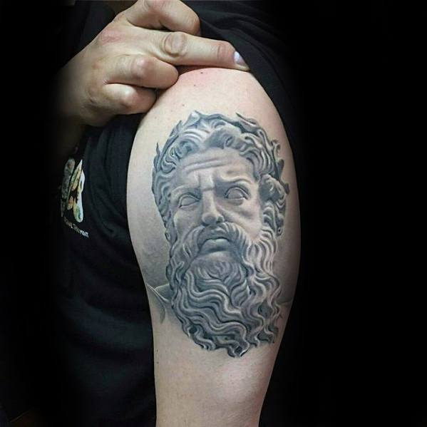 Amazing Mens Roman Statue Tattoo Designs On Upper Arm