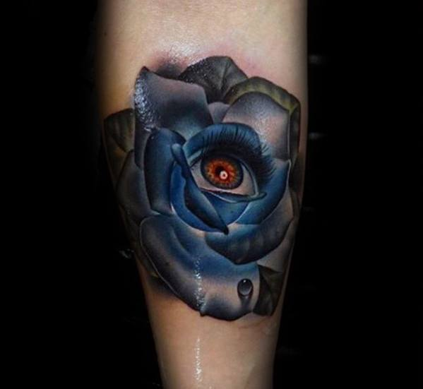 Amazing Mens Rose Flower Surrealism Tattoo Designs