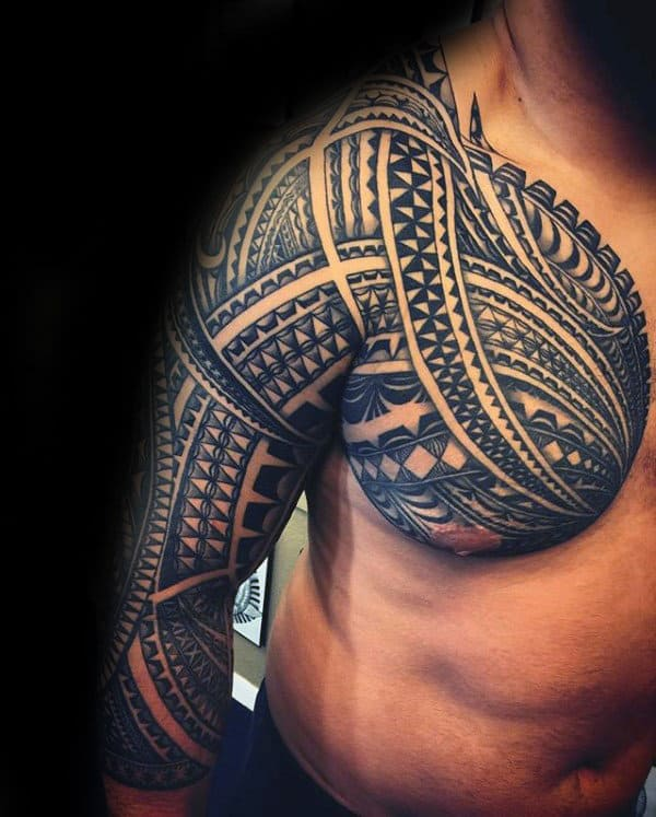 Amazing Mens Samoan Sleeve And Chest Tattoos