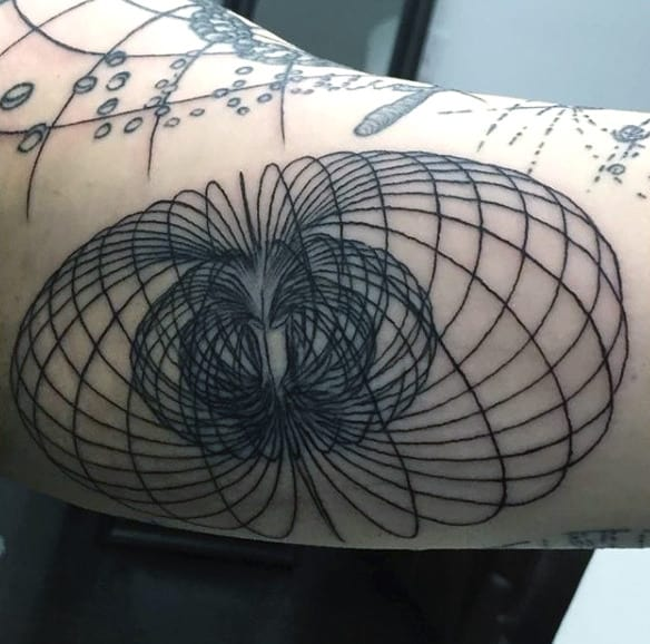 Amazing Mens Science Tattoo On Bicep Black Lines