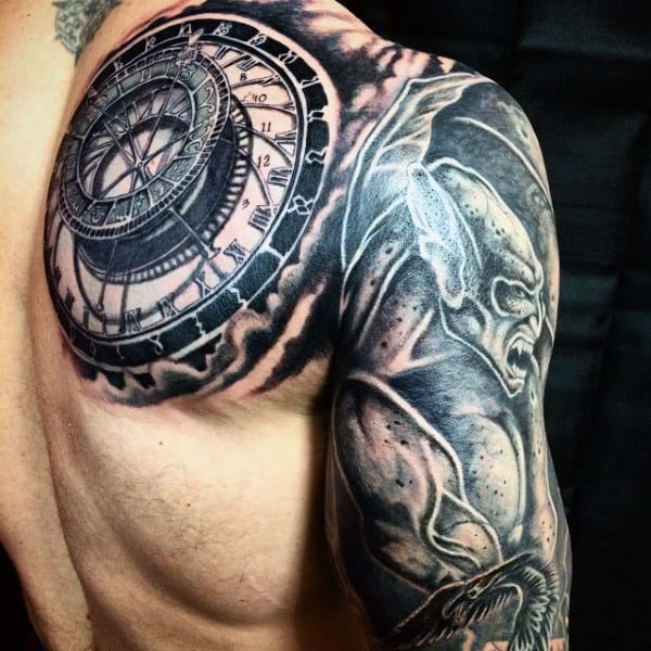 Amazing Mens Shaded Gargoyle Half Sleeve And Shoulder Tattoos