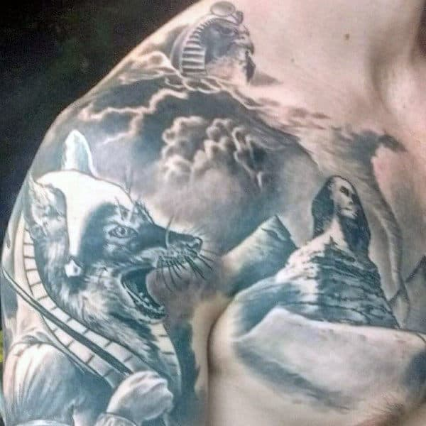 Amazing Mens Shaded Pyramid Chest Tattoos