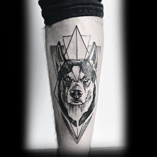 Amazing Mens Siberian Husky Tattoo Designs