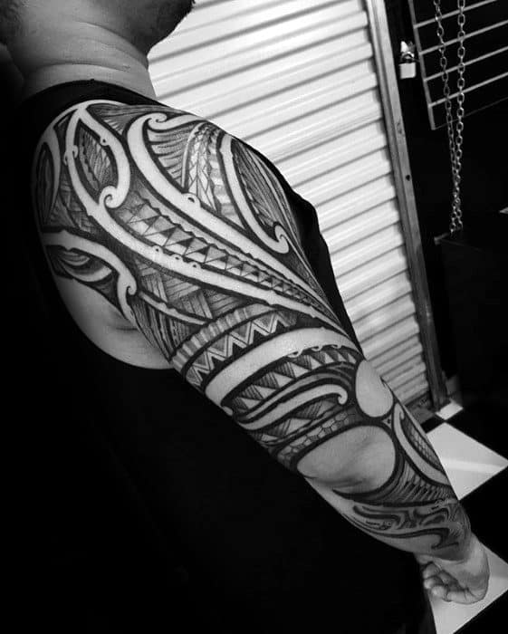 Amazing Mens Sick Full Arm Sleeve Tribal Tattoo Inspiration