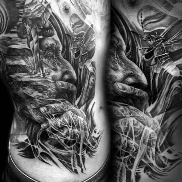Amazing Mens Sisyphus Tattoo Designs On Rib Cage Side Of Body