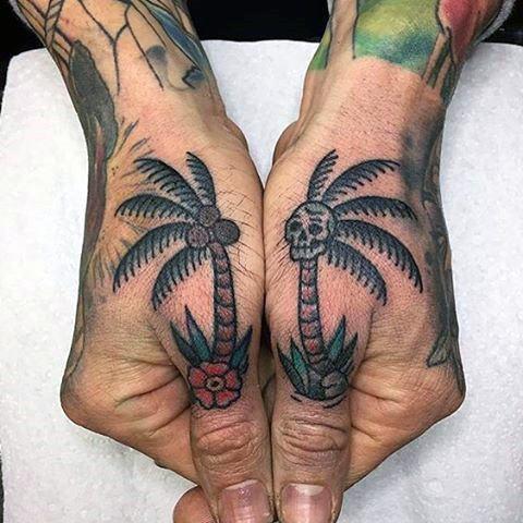 Amazing Mens Skull Palm Tree Thumb Tattoo Designs