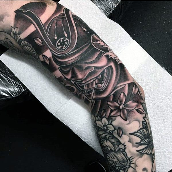 Amazing Mens Sleeve Tattoo Design Samurai Helmet