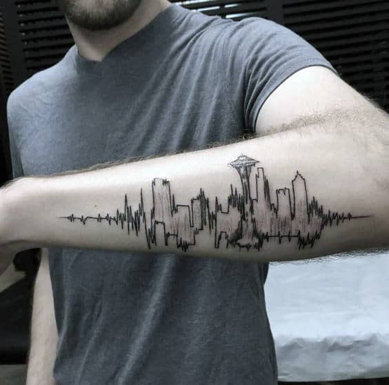 Amazing Mens Soundwave Seattle Skyline Outer Forearm Tattoo