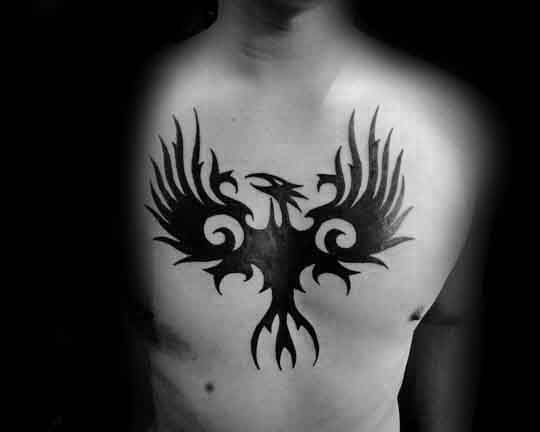 Amazing Mens Spiral Tribal Phoenix Black Ink Chest Tattoos