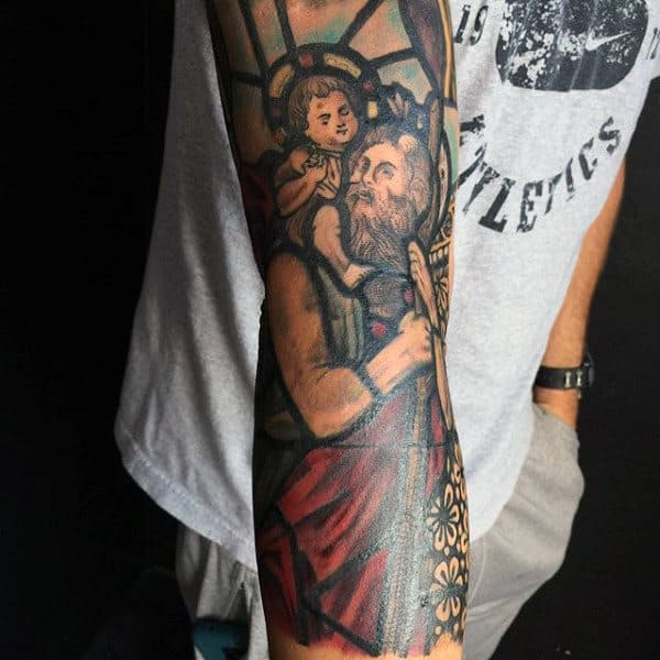 Amazing Mens Stained Glass Sleeve Tattoos
