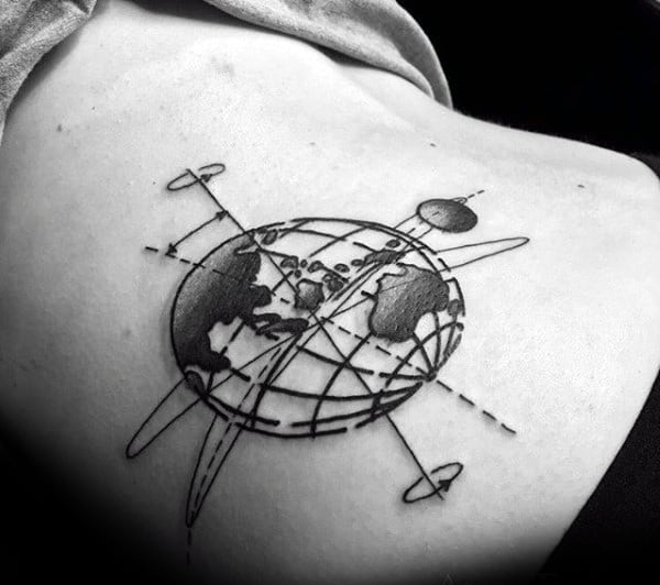 Amazing Mens Stomach Globe Tattoo
