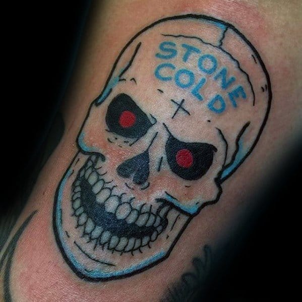 Amazing Mens Stone Cold Skull Arm Wrestling Tattoo Designs