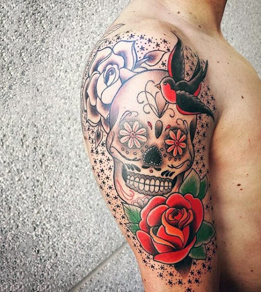 Amazing Mens Sugar Skull Tattoo Half Sleeve Sailor Jerry With Red Rose And Sparrow Bird