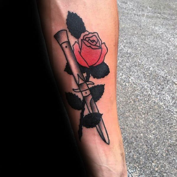 Amazing Mens Switchblade Rose Flower Inner Forearm Tattoo Designs