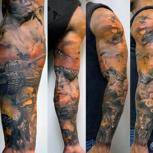 Amazing Mens Tank Tattoo Designs