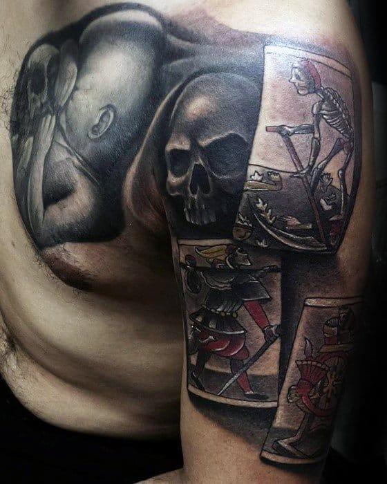 Amazing Mens Tarot Cards Half Sleeve Tattoo Designs