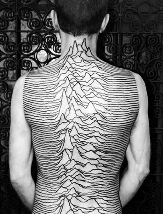 Amazing Mens Tattoo Of Black Music Sound Waves On Back