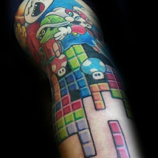 Amazing Mens Tetris Tattoo Designs On Arm