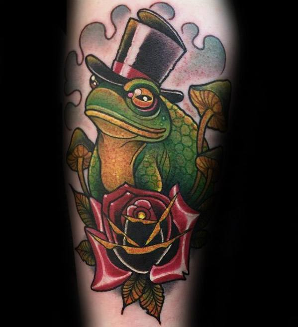 Amazing Mens Toad Wearing Top Hat With Rose Flower Leg Tattoo Designs