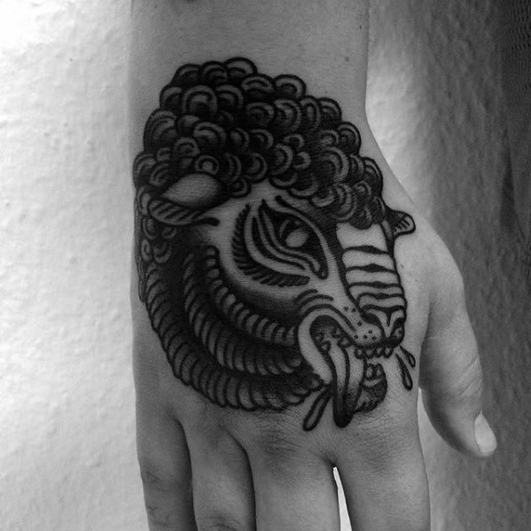 Amazing Mens Traditional Hand Sheep Tattoo Designs
